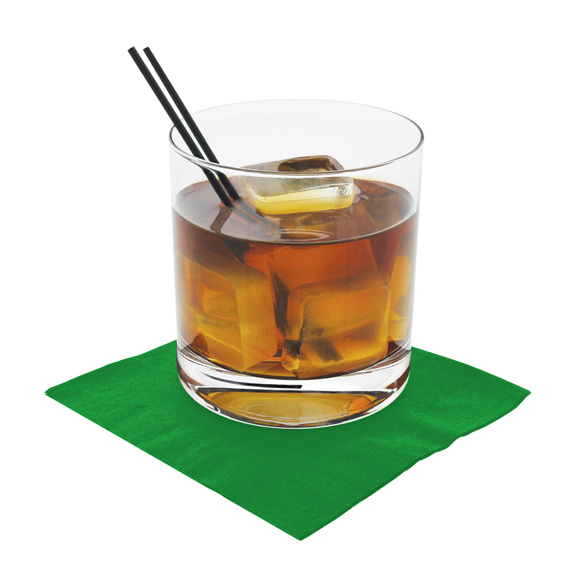 "Kelly Green Beverage Napkin, 2-Ply, 10"" x 10"", Napkin Under A Cocktail Glass"