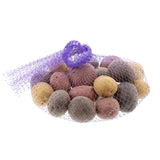 "PLASTIC MESH BAG PURPLE 24"", Bag Filled With Potatoes With Hand Tied Knot"