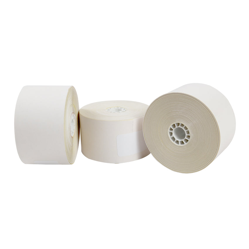"Carbonless Rolls, White-Canary, 44mm x 100', with 7/16"" ID Core, Three Rolls"