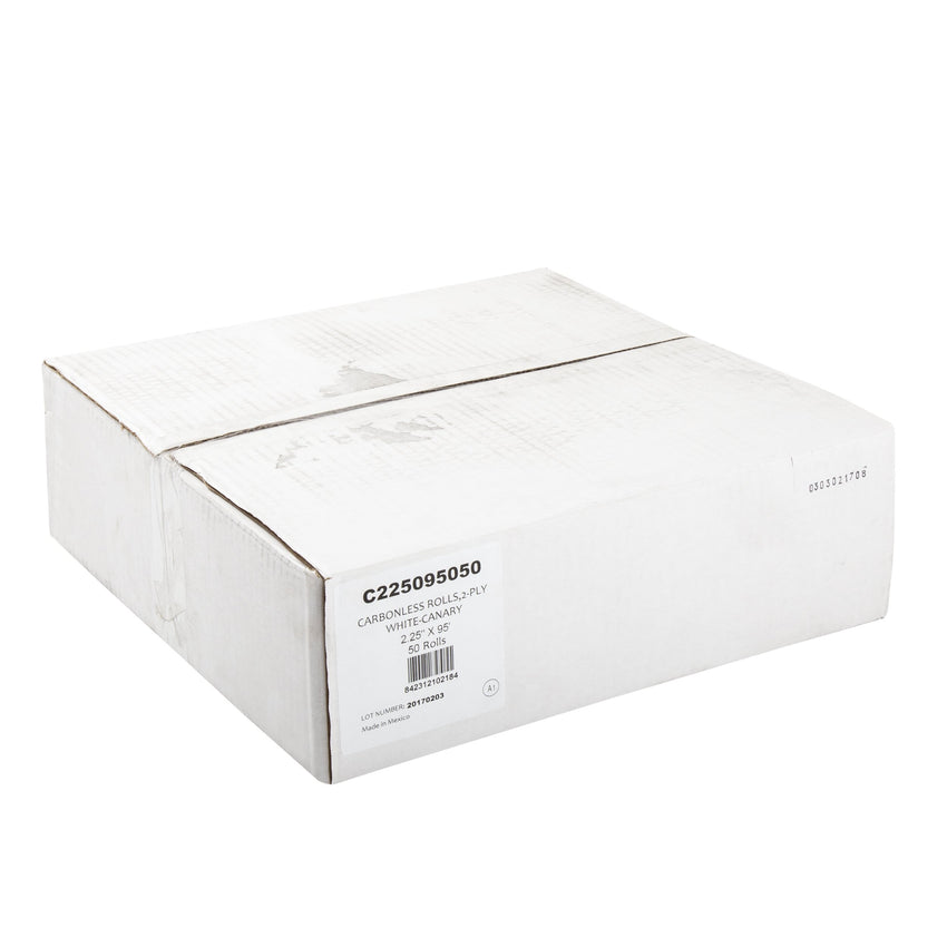 "Carbonless Rolls, White-Canary, 2.25"" x 95', with 7/16"" ID Core, Closed Case"