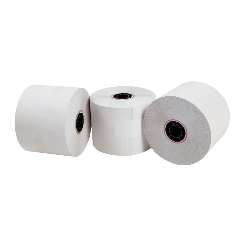"Carbonless Rolls, White-Canary, 2.25"" x 95', with 7/16"" ID Core, Three Rolls"