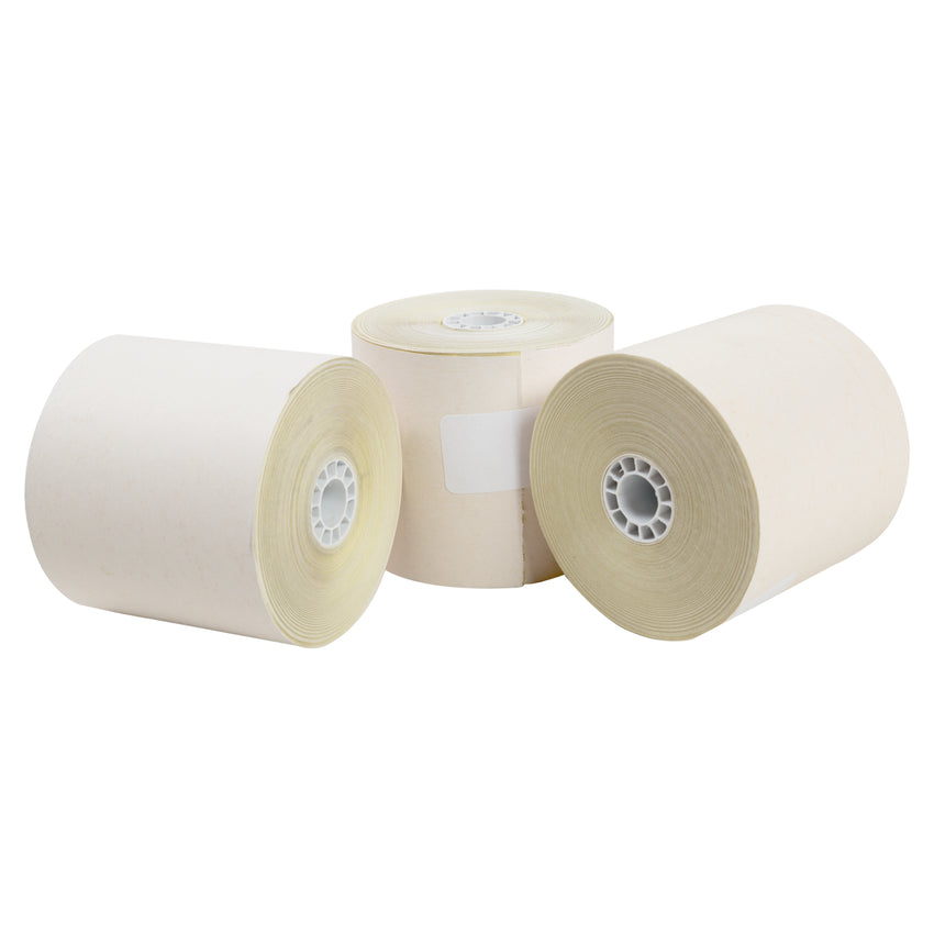 "Carbonless Rolls, White-Canary, 2.75"" x 95', with 7/16"" ID Core, Three Rolls"