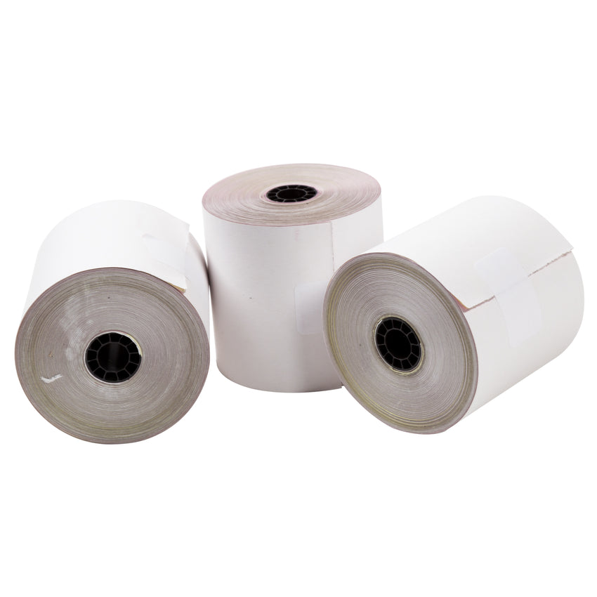 "Carbonless Rolls, White-Canary-Pink, 3"" x 65', with 7/16"" ID Core, Three Rolls"