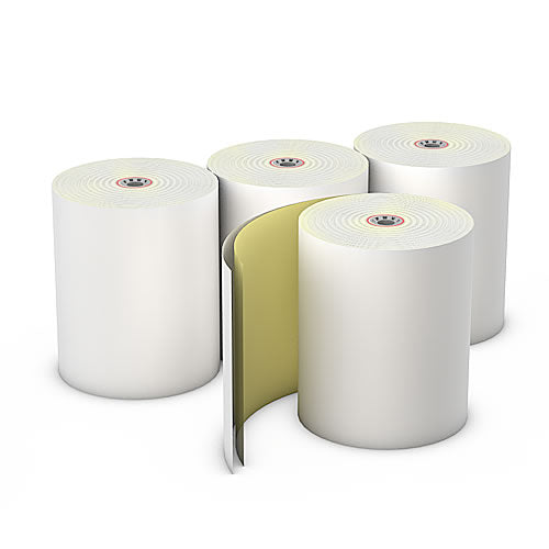 "Carbonless Rolls, White-Canary, 3"" x 92', with 7/16"" ID Core, Four Rolls"