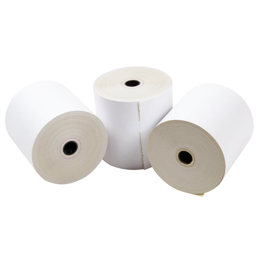 "Carbonless Rolls, White-Canary, 3"" x 95', with 7/16"" ID Core, Three Rolls"