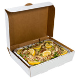 White Half Pan Corrugated Catering Box, Open Box With Food Content