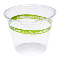 9 oz Compostable Squat Clear PLA Cup