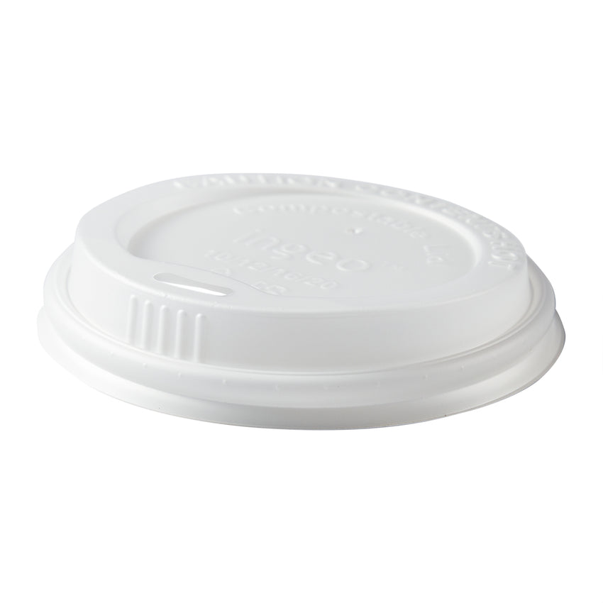 10-20 oz Compostable CPLA Hot Cup Lid, Tilted View