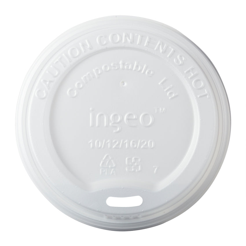 10-20 oz Compostable CPLA Hot Cup Lid, Overhead View