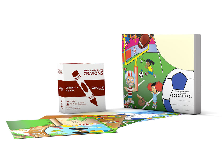 Crayon And Placemat Combo Kit, Photo of A Box of Crayons and Several Placemats