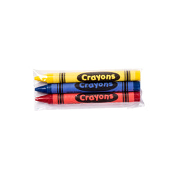 Cello Wrapped 3-Pack Crayons, Yellow, Blue and Red Crayons