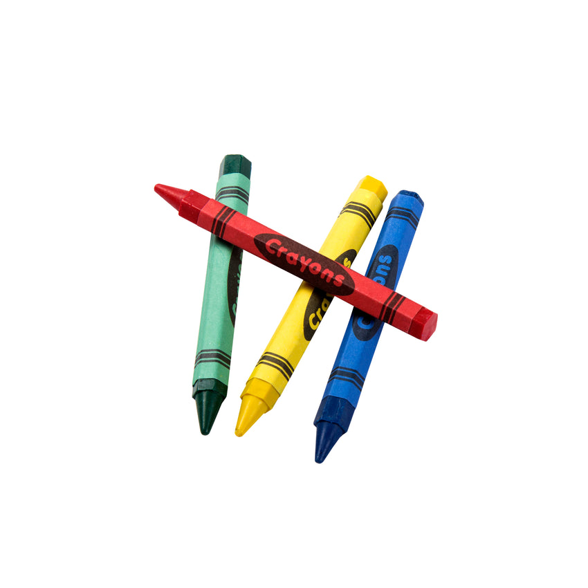 Honeycomb Crayons, 4-Pack Box, Top View Of Red, Green, Yellow and Blue Crayons