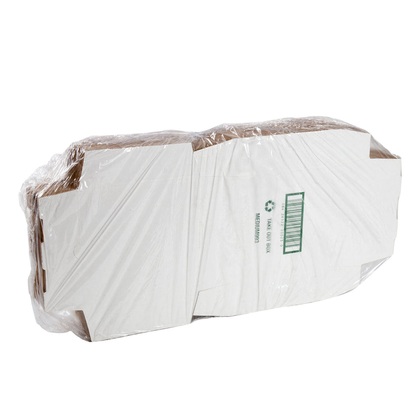 Medium White Corrugated Take Out Box, Package