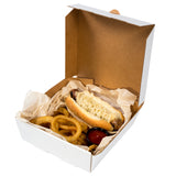 Medium White Corrugated Take Out Box, Open Box With Food Content