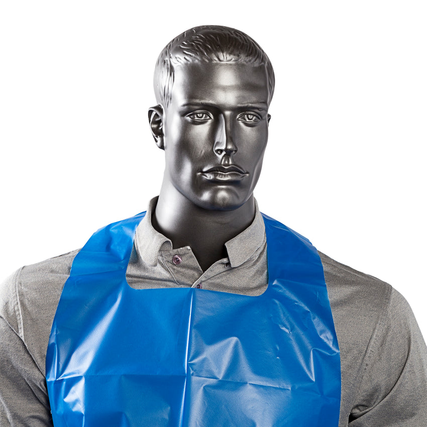 "28"" x 46"" Blue Poly Apron, 4 Mil, Apron On Mannequin, Zoomed In"