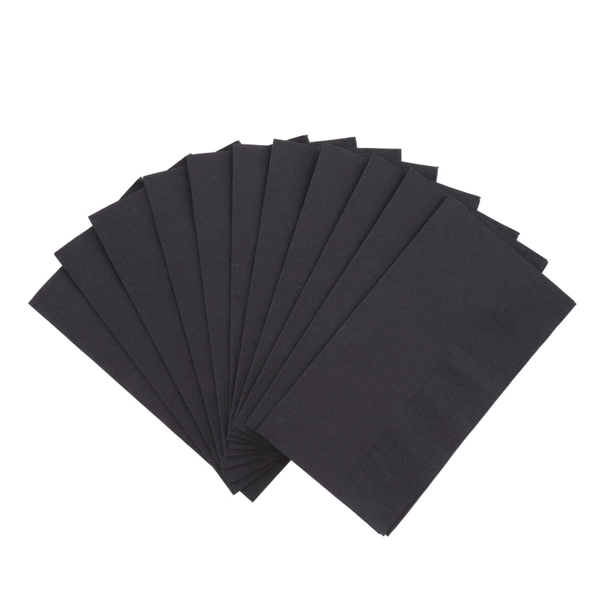 "Black Dinner Napkin, 2-Ply, 15"" x 17"", Fanned Out Napkins"