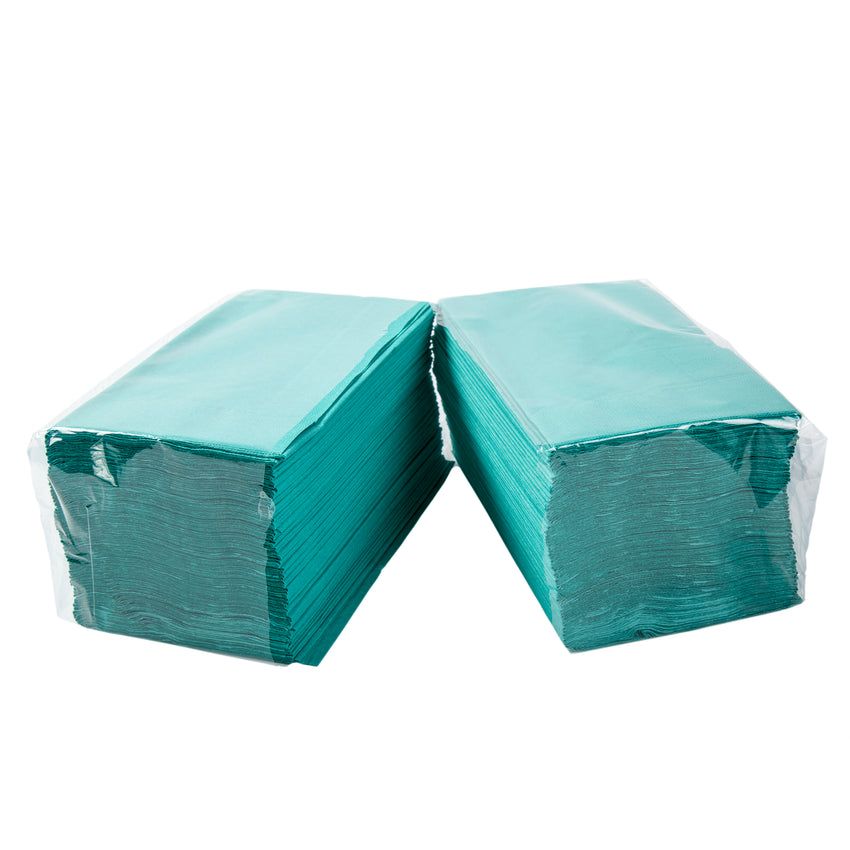 "Teal Dinner Napkin, 2-Ply, 15"" x 17"", Two Packages Side By Side"