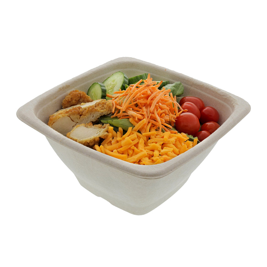 40 oz Tan Bowls Square, with food