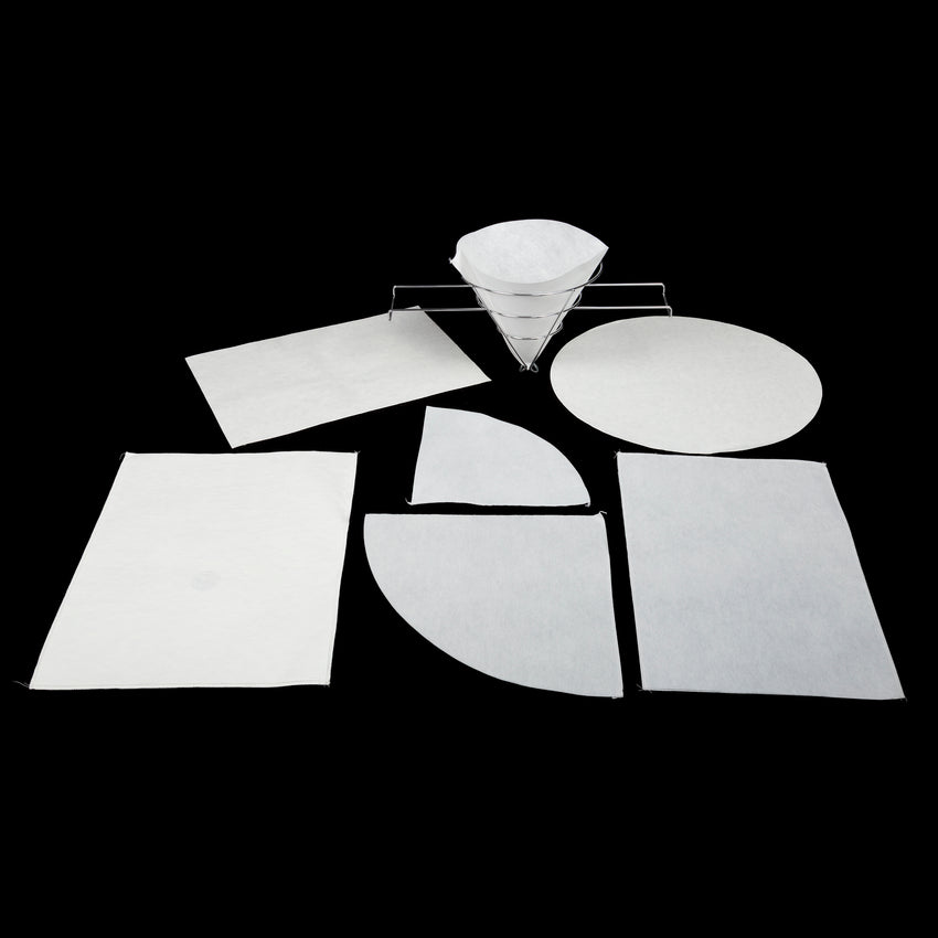 "Non-Woven Filter Envelope With 7/8"" Hole, 17-1/2"" x 17-1/2"", Group Picture of Seven Filter Sheets In Different Shapes and Sizes"