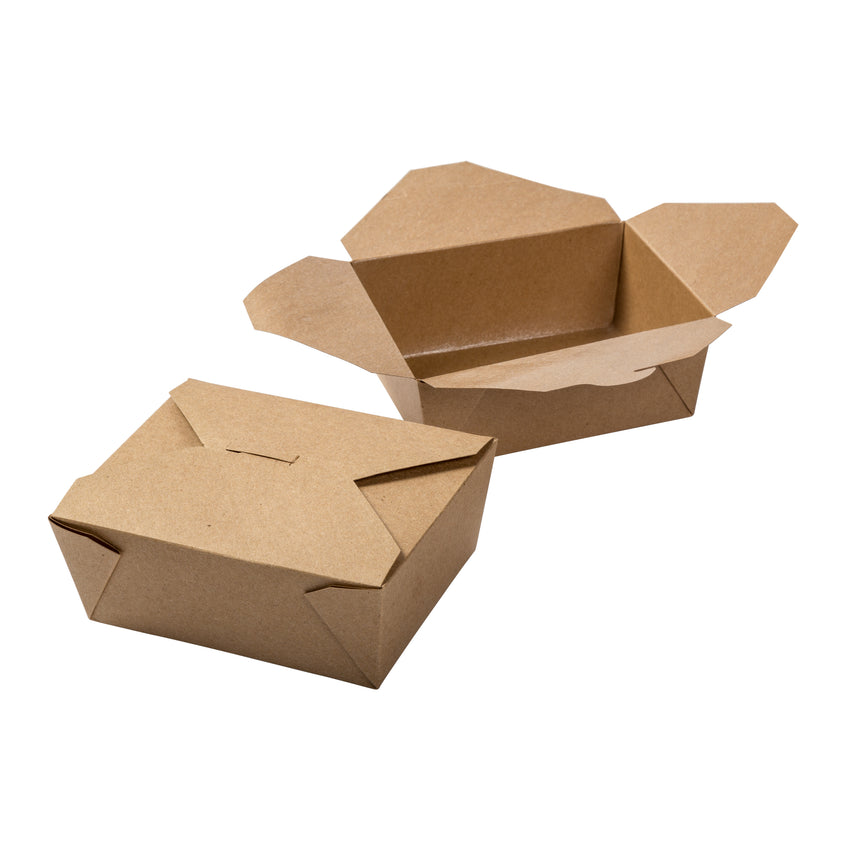 "Kraft Folded Takeout Box, 6"" x 4-3/4"" x 2-1/2"", Two Boxes Side By Side"