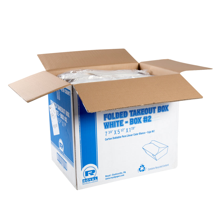"White Folded Takeout Box, 7-3/4"" x 5-1/2"" x 1-7/8"", Open Case"