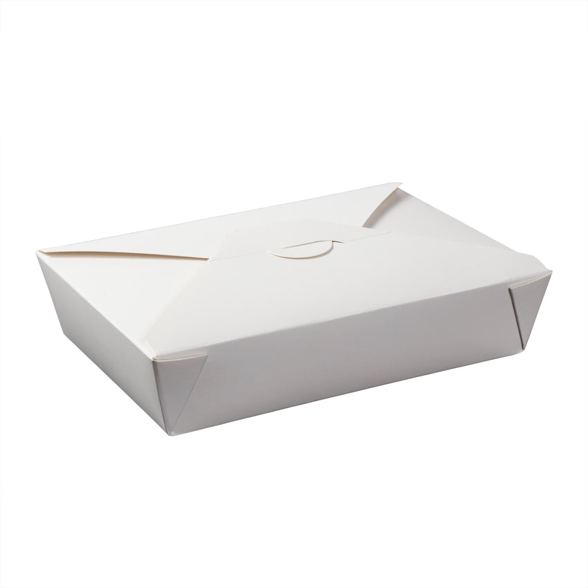 "White Folded Takeout Box, 7-3/4"" x 5-1/2"" x 1-7/8"""