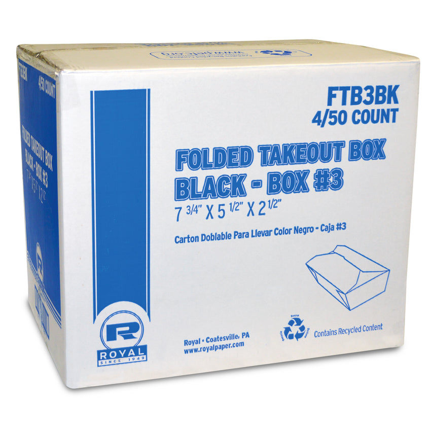 "Black Folded Takeout Box, 7-3/4"" x 5-1/2"" x 2-1/2"", Closed Case"