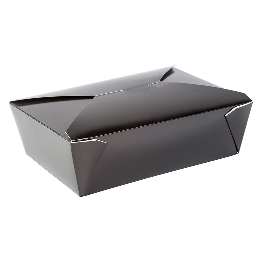 "Black Folded Takeout Box, 7-3/4"" x 5-1/2"" x 2-1/2"""