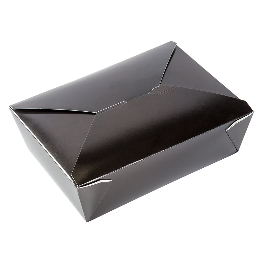 "Black Folded Takeout Box, 7-3/4"" x 5-1/2"" x 2-1/2"", Angled View"