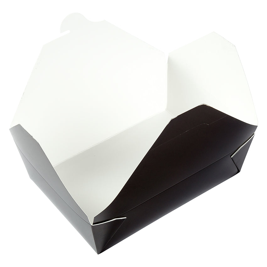 "Black Folded Takeout Box, 7-3/4"" x 5-1/2"" x 2-1/2"", Open Box"