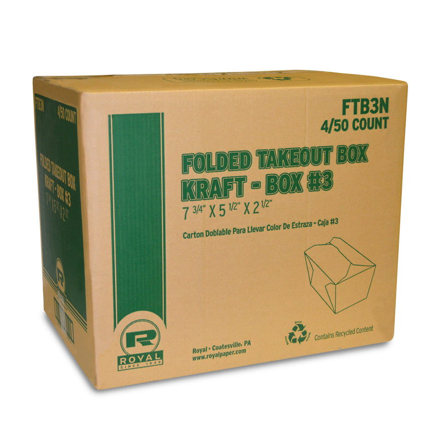 "Kraft Folded Takeout Box, 7-3/4"" x 5-1/2"" x 2-1/2"", Closed Case"