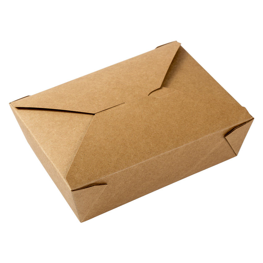"Kraft Folded Takeout Box, 7-3/4"" x 5-1/2"" x 2-1/2"", Top View"