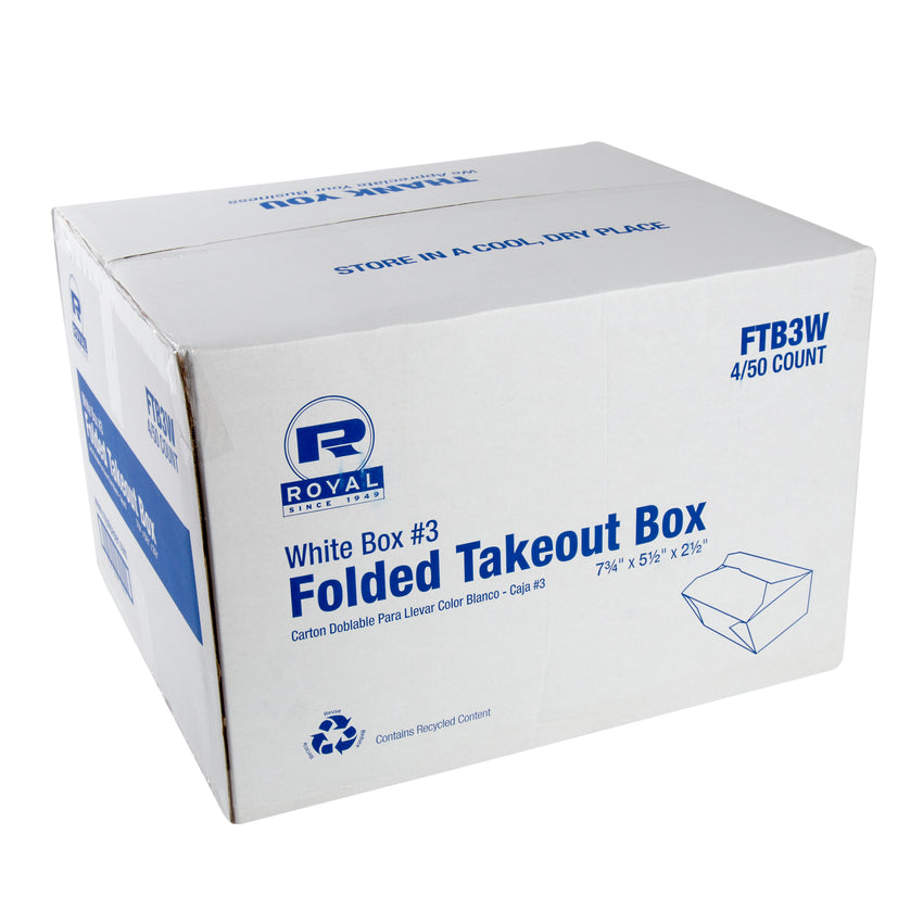 "White Folded Takeout Box, 7-3/4"" x 5-1/2"" x 2-1/2"", Closed Case"