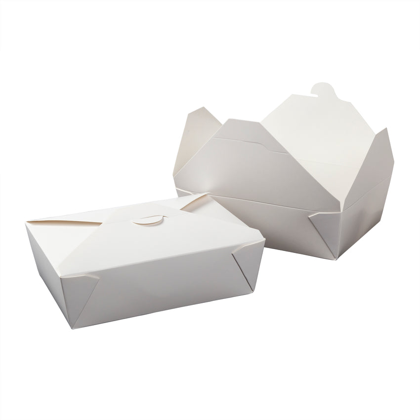 "White Folded Takeout Box, 7-3/4"" x 5-1/2"" x 2-1/2"", Two Boxes Side By Side"