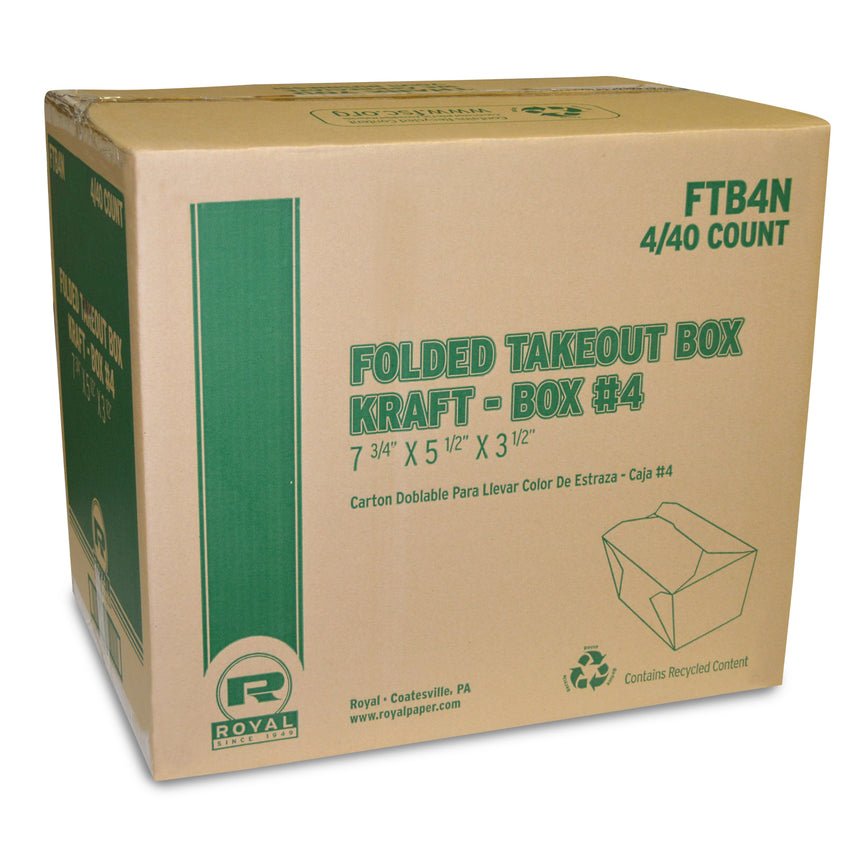 "Kraft Folded Takeout Box, 7-3/4"" x 5-1/2"" x 3-1/2"", Closed Case"