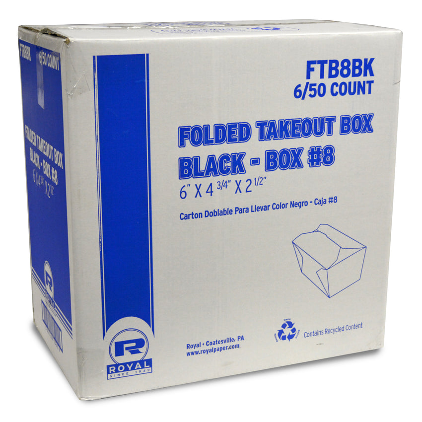 "Black Folded Takeout Box, 6"" x 4-3/4"" x 2-1/2"", Closed Case"