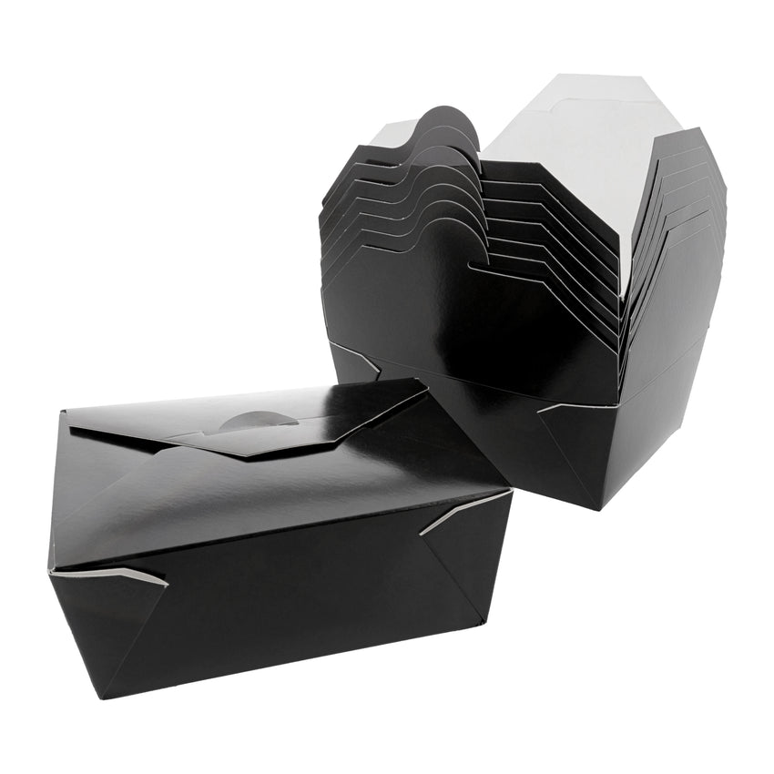 "Black Folded Takeout Box, 6"" x 4-3/4"" x 2-1/2"", Two Boxes Side By Side"