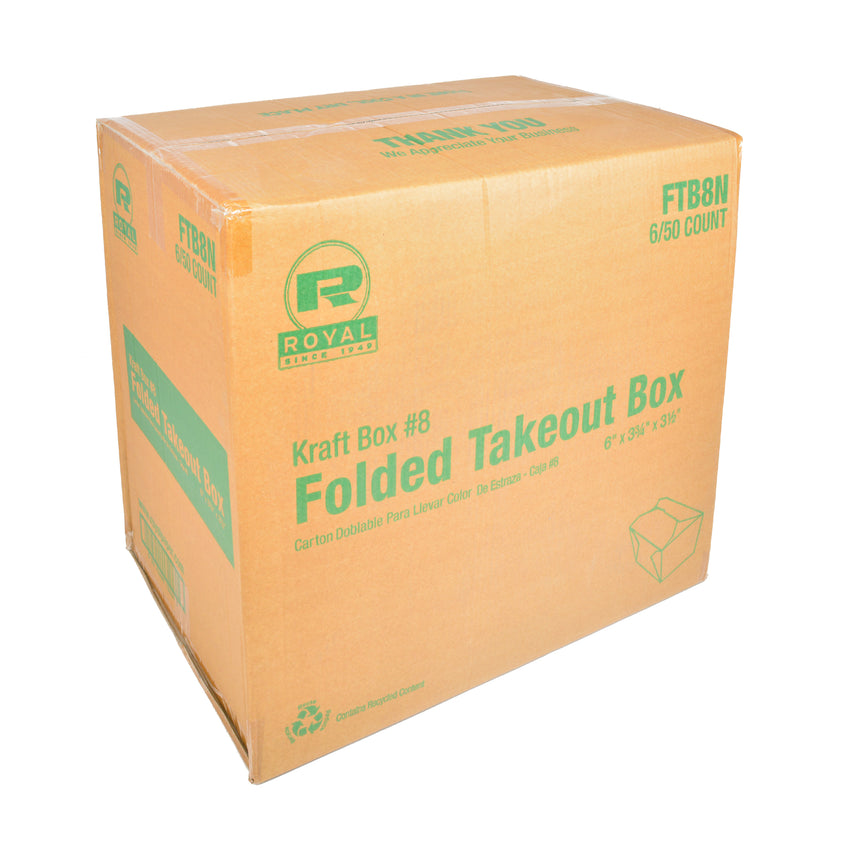 "Kraft Folded Takeout Box, 6"" x 4-3/4"" x 2-1/2"", Closed Case"