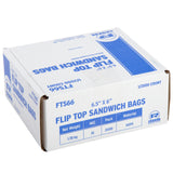 "High Density Flip Top Sandwich Bags, 6.5"" x 6"", Closed Case"