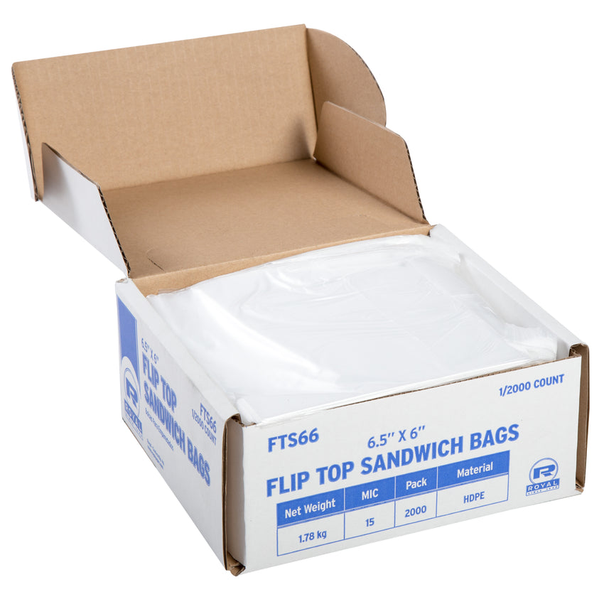 "High Density Flip Top Sandwich Bags, 6.5"" x 6"", Open Case"