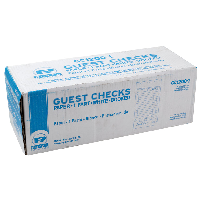White Guest Checks 1-Part Booked, 15 lines, Closed Case