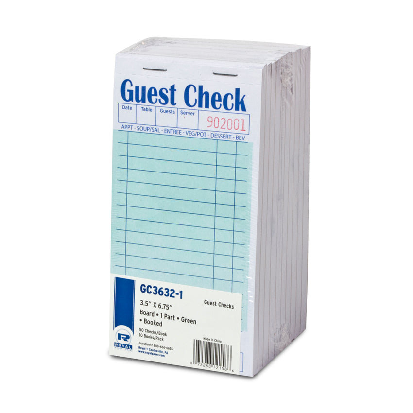 Green Guest Check 1-Part Booked, 15 lines, Inner Package