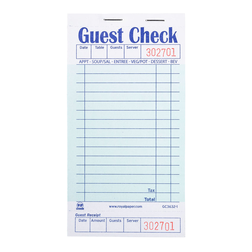 Green Guest Check 1-Part Booked, 15 lines