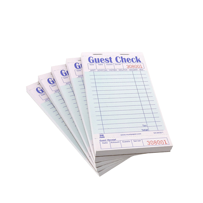 Green Guest Check 1-Part Booked, 15 lines, Pile of Five Guest Checks