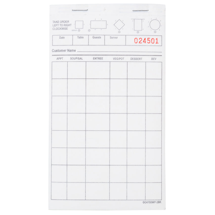 "White Server Pad, Carbonless, 2-Part Booked, 4.2"" x 7.25"", 8 Lines"
