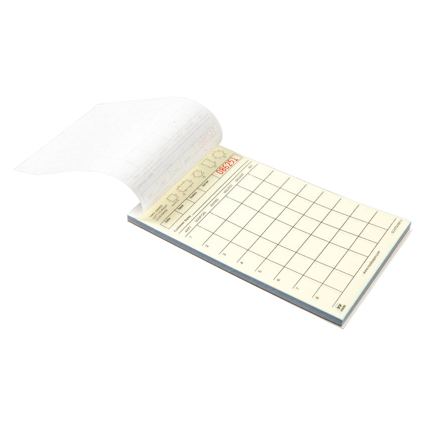 White Server Pads, 2-Part Booked, Carbonless, 8 Lines, Second Page