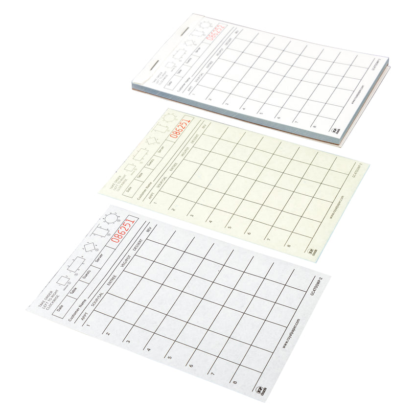 White Server Pads, 2-Part Booked, Carbonless, 8 Lines, Detached Pages