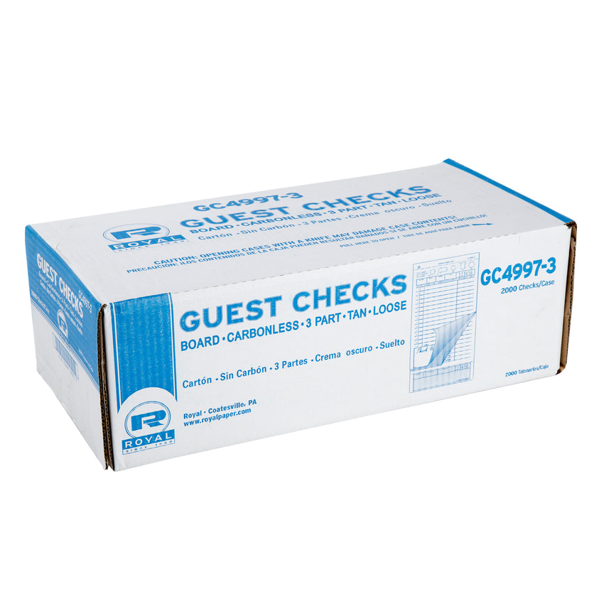 Tan Guest Check 3-Part Loose, Carbonless, 15 lines, Closed Case