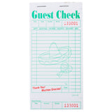 "White Gracias Theme Guest Check 1-Part Booked, 3.4"" x 6.75"", 18 Lines"