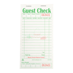 GRACIAS GUEST CHECK BOARD 1 PART BOOKED 16 LINES WHITE, 5/10